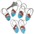 Carved Turquoise Coral Native American Key Chain 39525