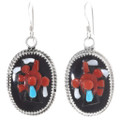 Red Coral High Relief Inlay Necklace Matching Earrings Set 39549