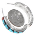 Zuni Inlay Turquoise Coral Shell Sterling Silver Hoop Earrings 39554