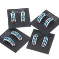 Inlaid Southwest Half Hoop Turquoise Earrings 39554