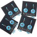 Zuni Turquoise Post Dangle Earrings 39562