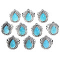 Bright Turquoise Stones Sterling Silver Navajo Made Rings 39564