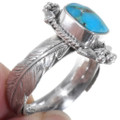 Navajo Made Sterling Silver Feather Design Turquoise Ring 3956739567