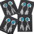 Western Silver Feather Arizona Turquoise Earrings 39569