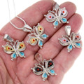 Native American Gemstone Inlay Butterfly Pendants Chain Included 39579