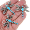 Sleeping Beauty Turquoise Dragonfly Native American Lapel Pins 39582