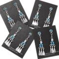 Zuni Artist Danny Etsate Sleeping Beauty Turquoise Earrings Signed 39584