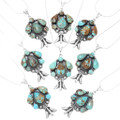 Spiderweb Turquoise Sterling Silver Navajo Pendants 39593