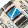 Turquoise Ironwood Inlay Fancy Money Clip 39629