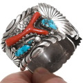 Old Pawn Native American Watch High Grade Coral Turquoise 39632