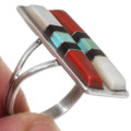 Native American Turquoise Coral Sterling Silver Ring 39633