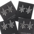 Cannabis Leaf Marijuana Earrings Sterling Silver 39734