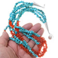 Turquoise Nugget Branch Coral Three Strand Necklace 30658
