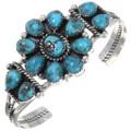 Turquoise Silver Navajo Cluster Bracelet 39811