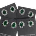 Brilliant Green Sterling Silver Native American Earrings 39823