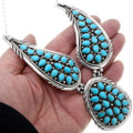 Sterling Silver Navajo Made Turquoise Cluster Necklace 39826