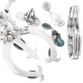 Sterling Silver Turquoise Squash Blossom Jewelry Set 19685