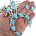 Natural Turquoise Navajo Squash Blossom Necklace 39255