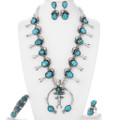Navajo Squash Blossom Necklace Turquoise Jewelry Set 39848