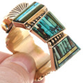 Vintage 14K Gold Watch Turquoise Inlay Geometric Design 39875