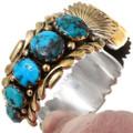 High Grade Vintage Arizona Turquoise 14K Gold Native American Watch 39876