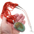 Green Turquoise Sterling Silver Pendant on Coral Necklace 39884