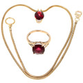 Vintage Ladies Garnet 14K Gold Pendant Ring Set 39878