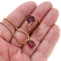 Matching Garnet Jewelry Set 14K Gold 39878