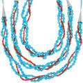 Beaded Natural Turquoise Nuggets Native American Necklace 39915