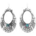 Navajo Turquoise Silver Hoop Earrings 39953