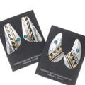 Native American Gold Silver Turquoise Earrings 39956