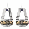 Navajo Gemstone Gold Silver Earrings 39958