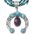 Navajo Turquoise Shell Naja Beaded Necklace 39961