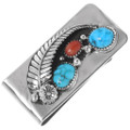 Native American Turquoise Coral Silver Money Clip 24292