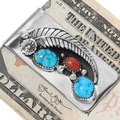 Turquoise Coral Silver Money Clip 24292