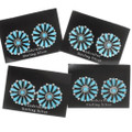 Sterling Silver Traditional Round Turquoise Earrings 39981
