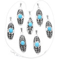 Turquoise Navajo Storm Pattern Sterling Silver Pendant with Chain 40004