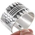 Authentic Navajo Made Sterling Silver Bracelet Artist Signed 40035
