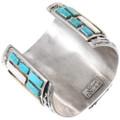 Large Sterling Silver Shell Turquoise Big Horn Bracelet Artist Signed 40053