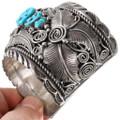 Large Vintage Sterling Silver Turquoise Bracelet 40055