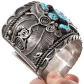 Navajo Made Turquoise Bear Claw Sterling Silver Cuff Bracelet 40055