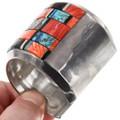 Sterling Silver Spiny Oyster Geometric Pattern Inlay Bracelet 40063