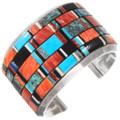Vintage Inlaid Turquoise Shell Cuff Bracelet 40063