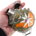 Turquoise Spiny Oyster Sterling Silver Flask 40066