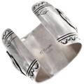 Authentic Navajo Large Silver Buffalo Bracelet Artist Tommy Singer Signed 40067