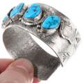 Effie Calavaza Style Silver Snake Turquoise Bracelet 40070