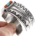 Turquoise Coral Lapis Gemstones Sterling Silver Navajo Bracelet 40084