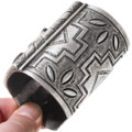 Sterling Silver Bow Guard Cuff Bracelet Inlay Kachina Design 40085