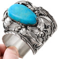 Large Kingman Turquoise Sterling Silver Bear Claw Bracelet 40086