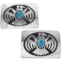 Spiderweb Turquoise Sterling Silver Thunderbird Symbol Belt Buckle 40088